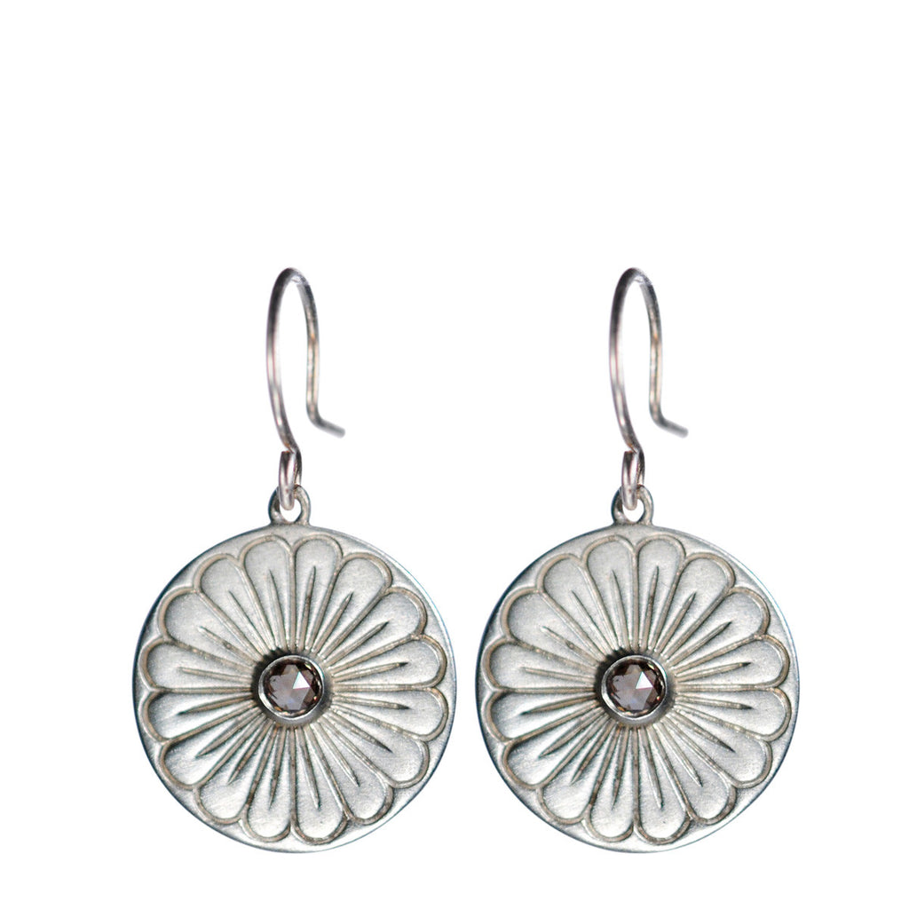 Sterling Silver Large Flower Drop Earrings with Brown Diamonds