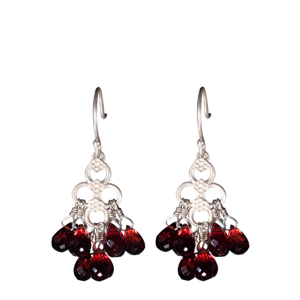 Sterling Silver Short Garnet Flower Earrings
