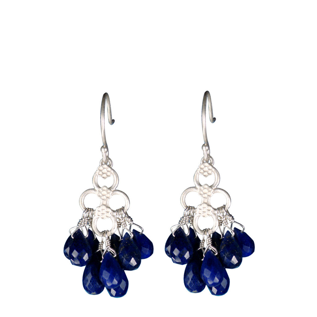 Sterling Silver Short Lapis Flower Earrings