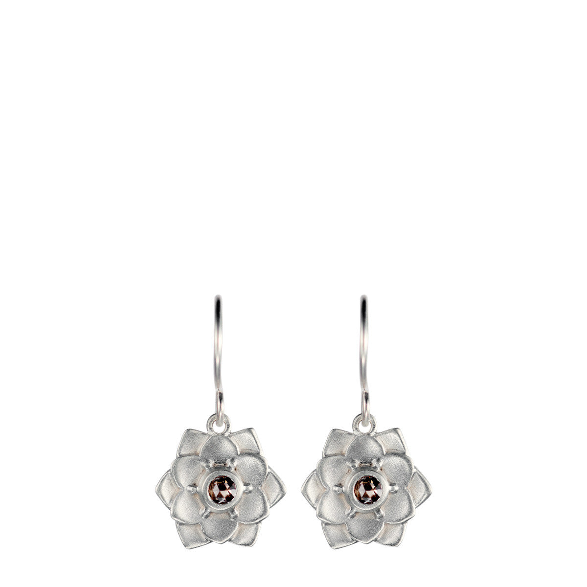 Sterling Silver Lotus Flower Earrings with Brown Diamonds
