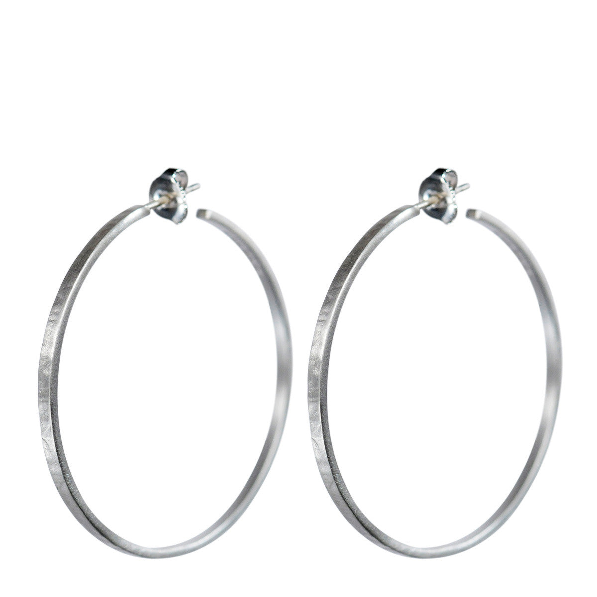 Sterling Silver Medium Flattened Hoop Earrings