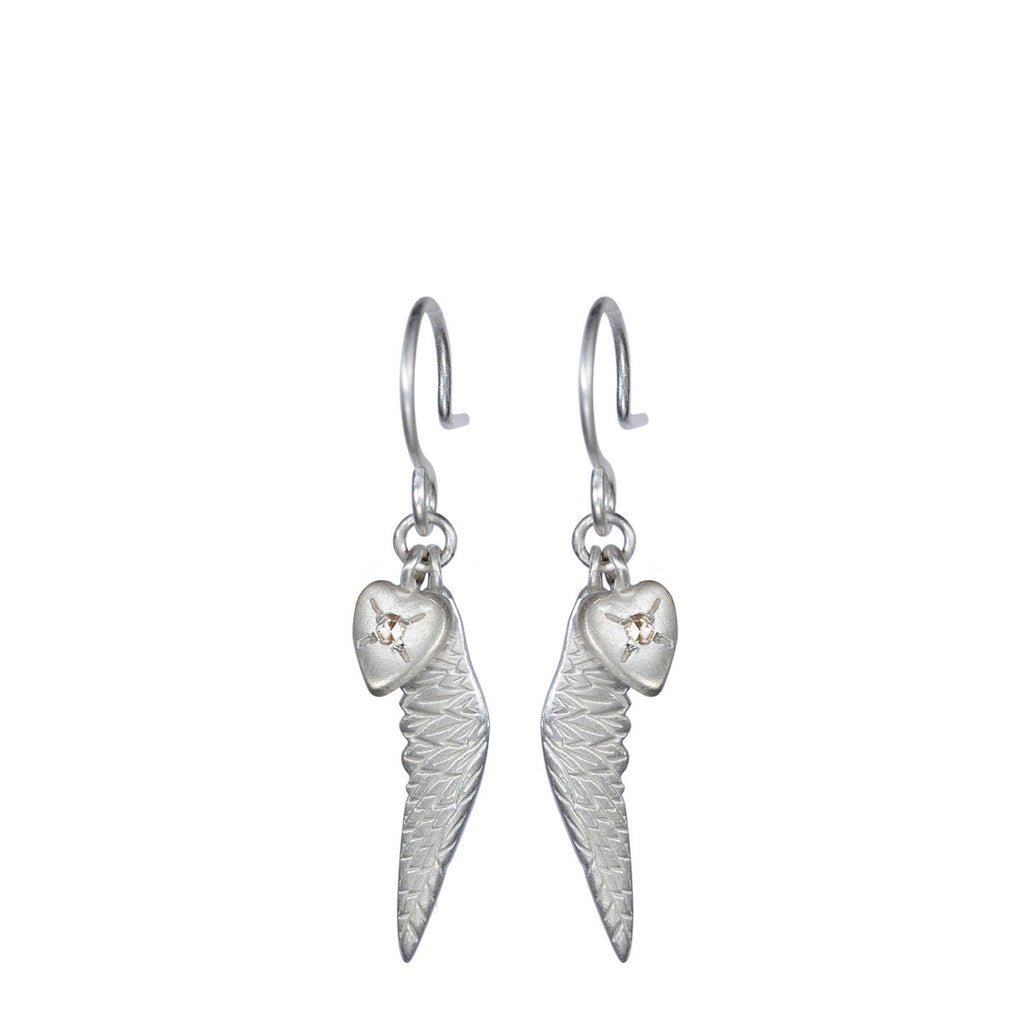 Sterling Silver Heart & Wing Charm Earrings with Diamonds