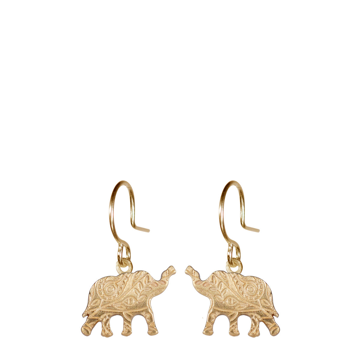 10K Gold Small Paisley Elephant Earrings