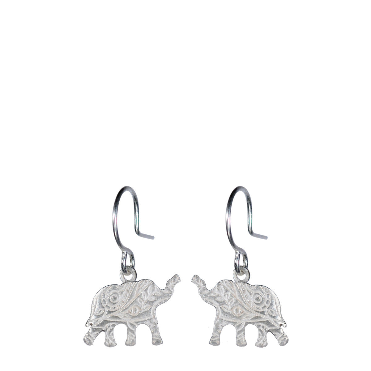 Sterling Silver Small Paisley Elephant Earrings