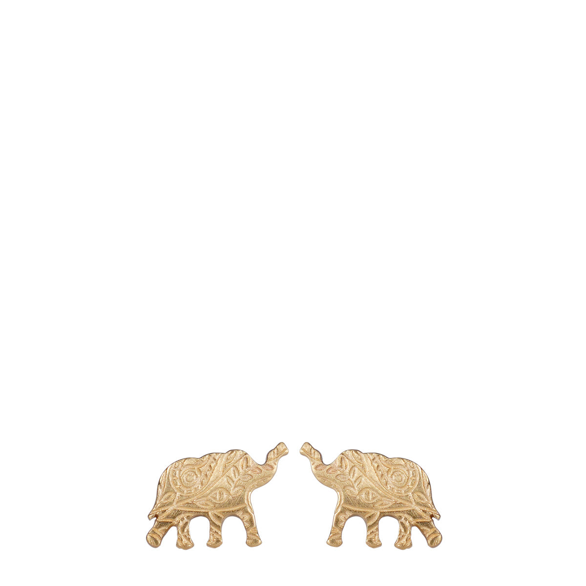 10K Gold Small Paisley Elephant Stud Earrings