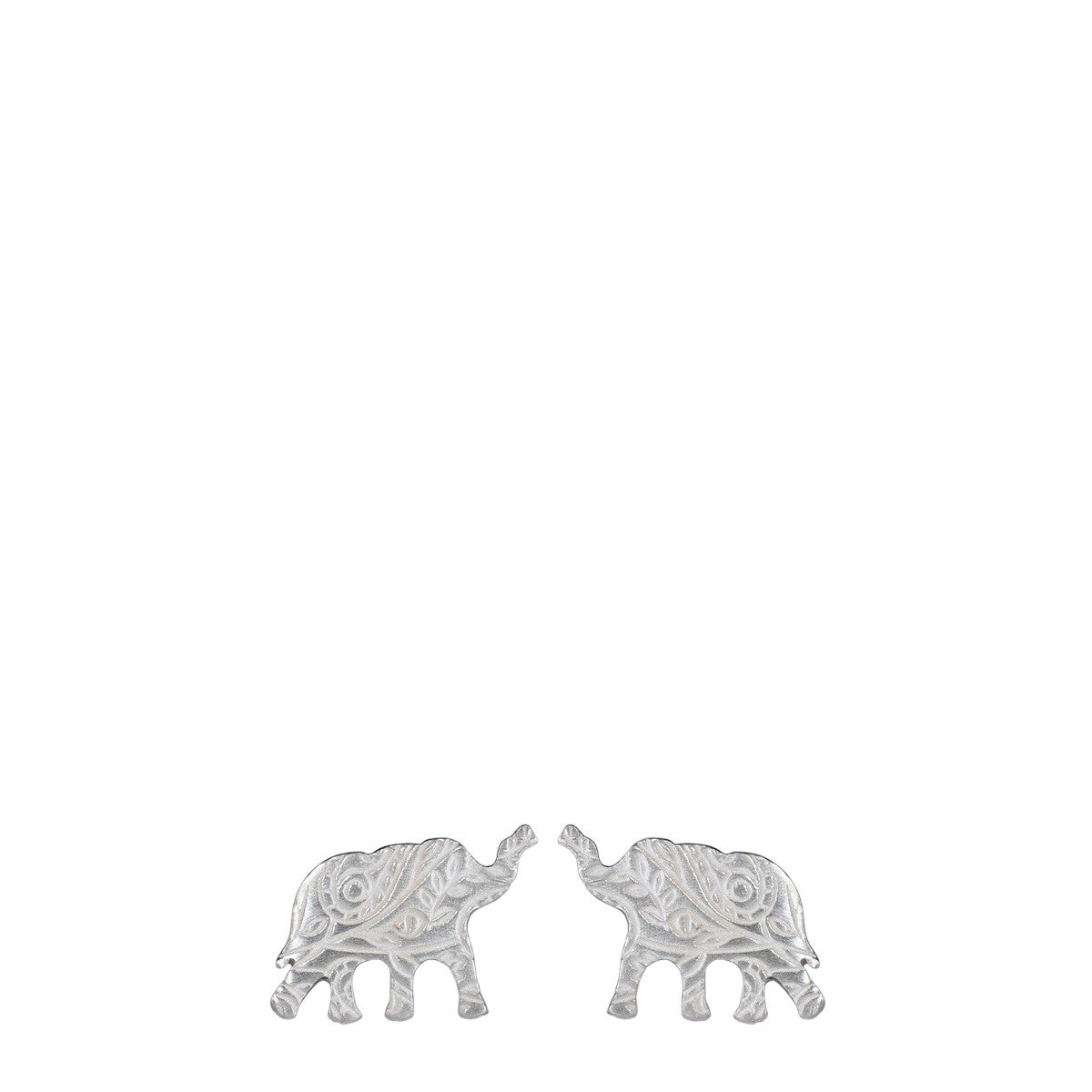 Sterling Silver Small Paisley Elephant Stud Earrings