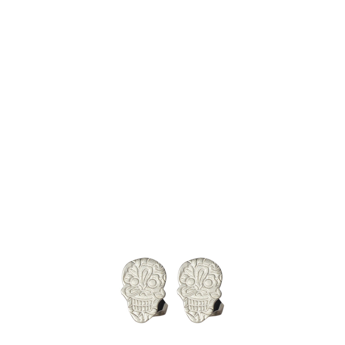 Sterling Silver Paisley Skull Earrings