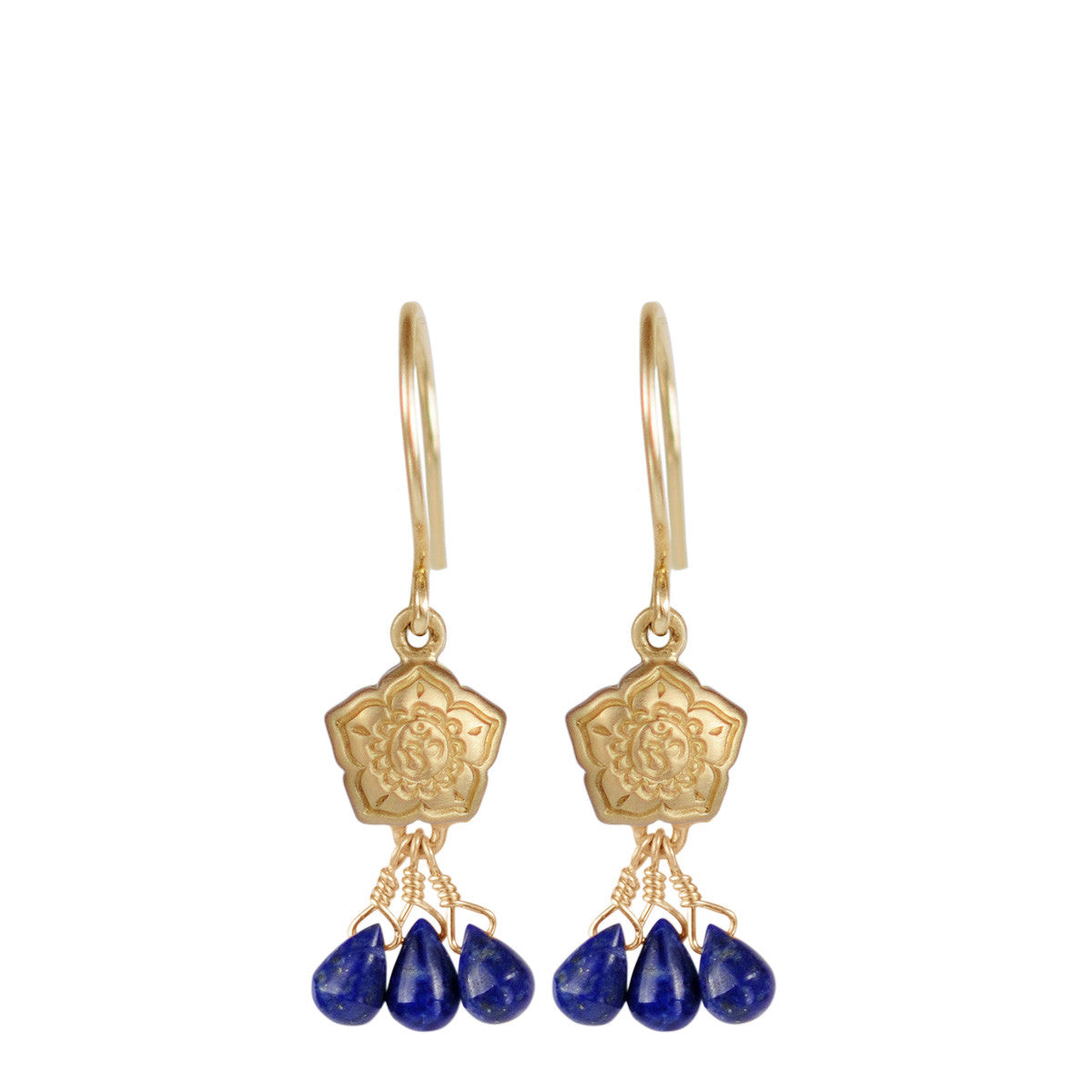 10K Gold Small Om Flower Earrings with Lapis