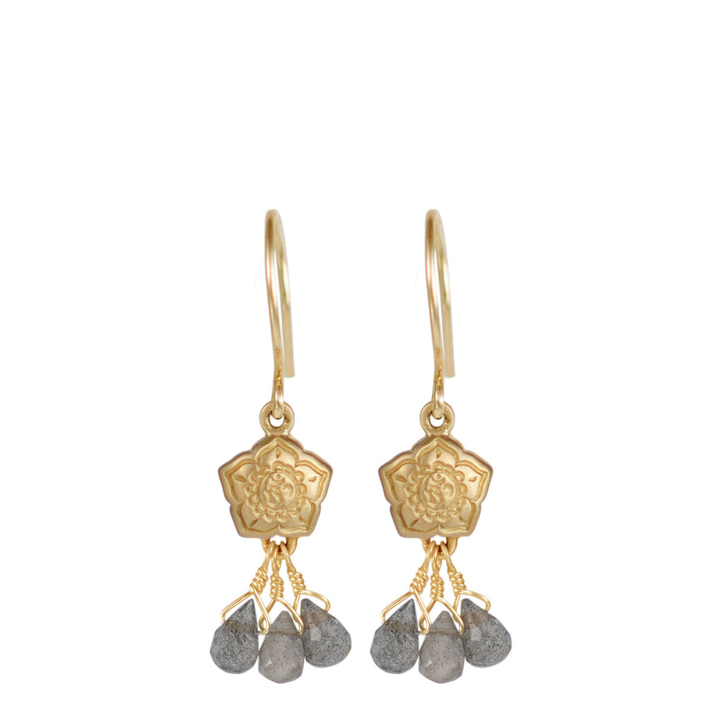 10K Gold Small Om Flower Earrings with Labradorite