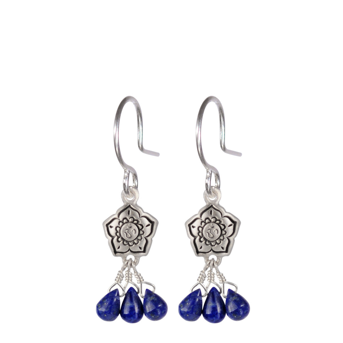 Sterling Silver Small Om Flower Earrings with Lapis