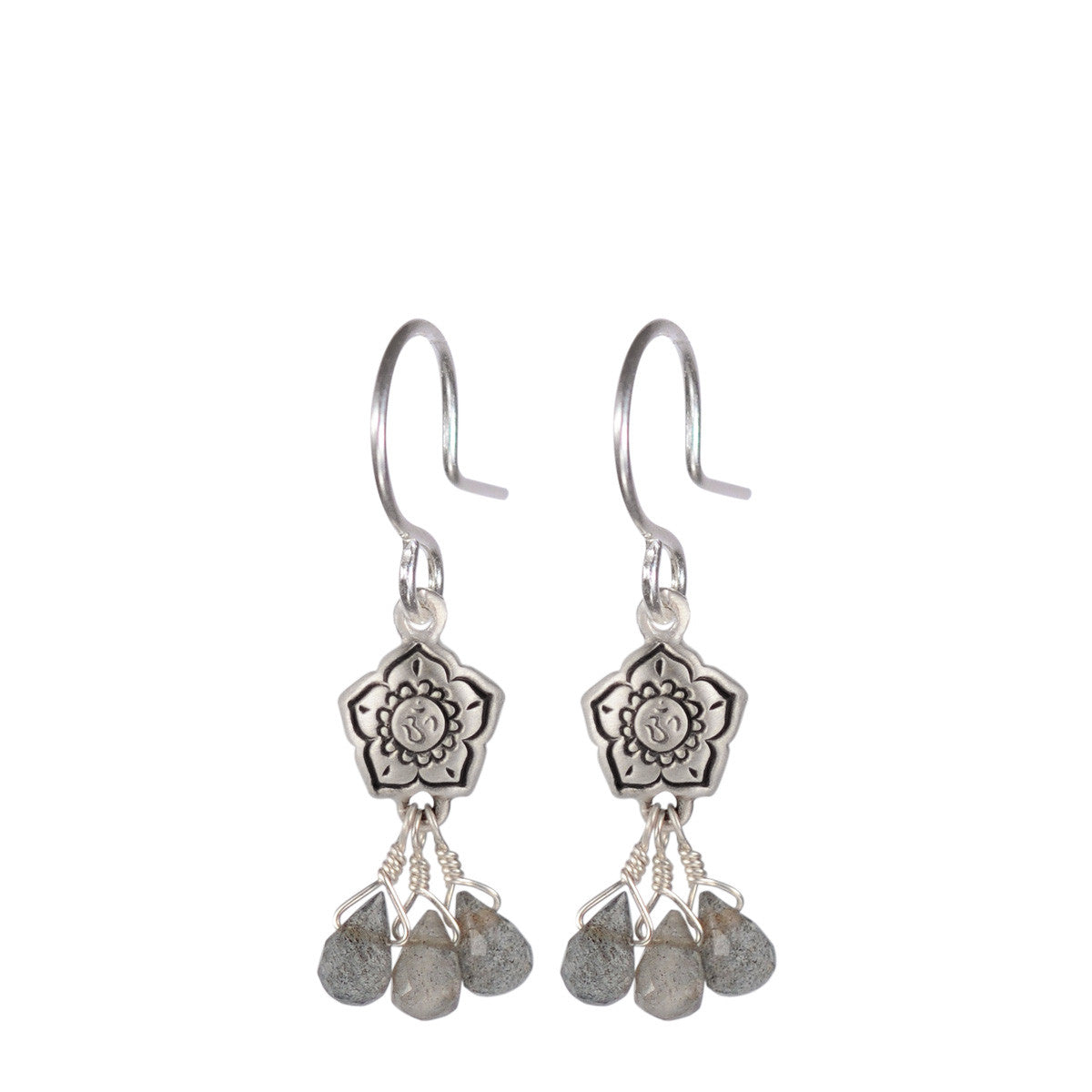 Sterling Silver Small Om Flower Earrings with Labradorite