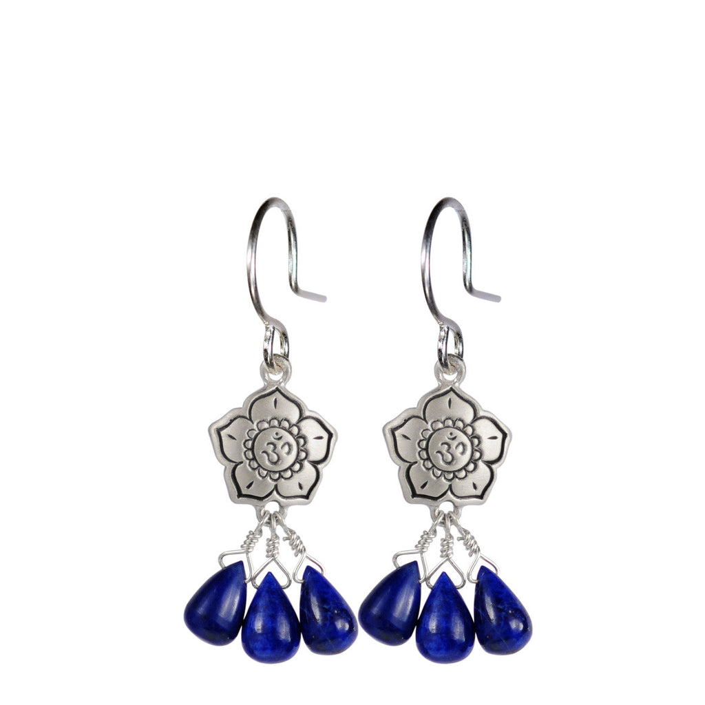 Sterling Silver Om Flower Earrings with Lapis