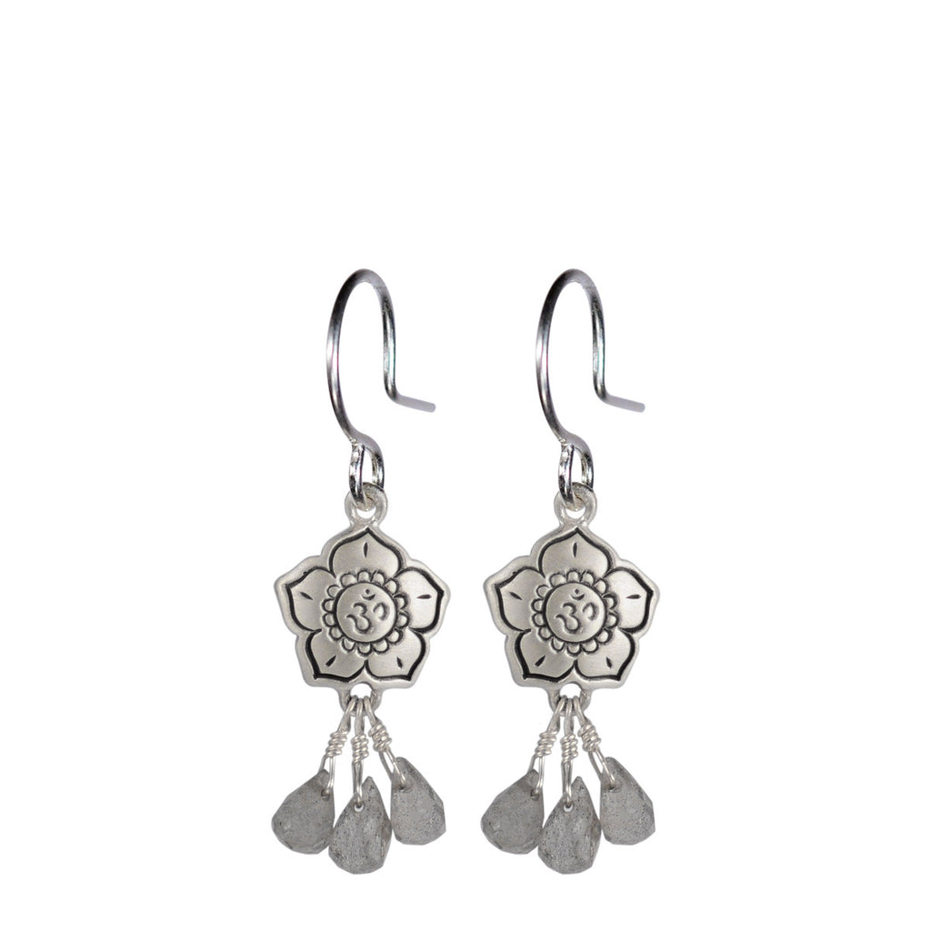 Sterling Silver Om Flower Earrings with Labradorite