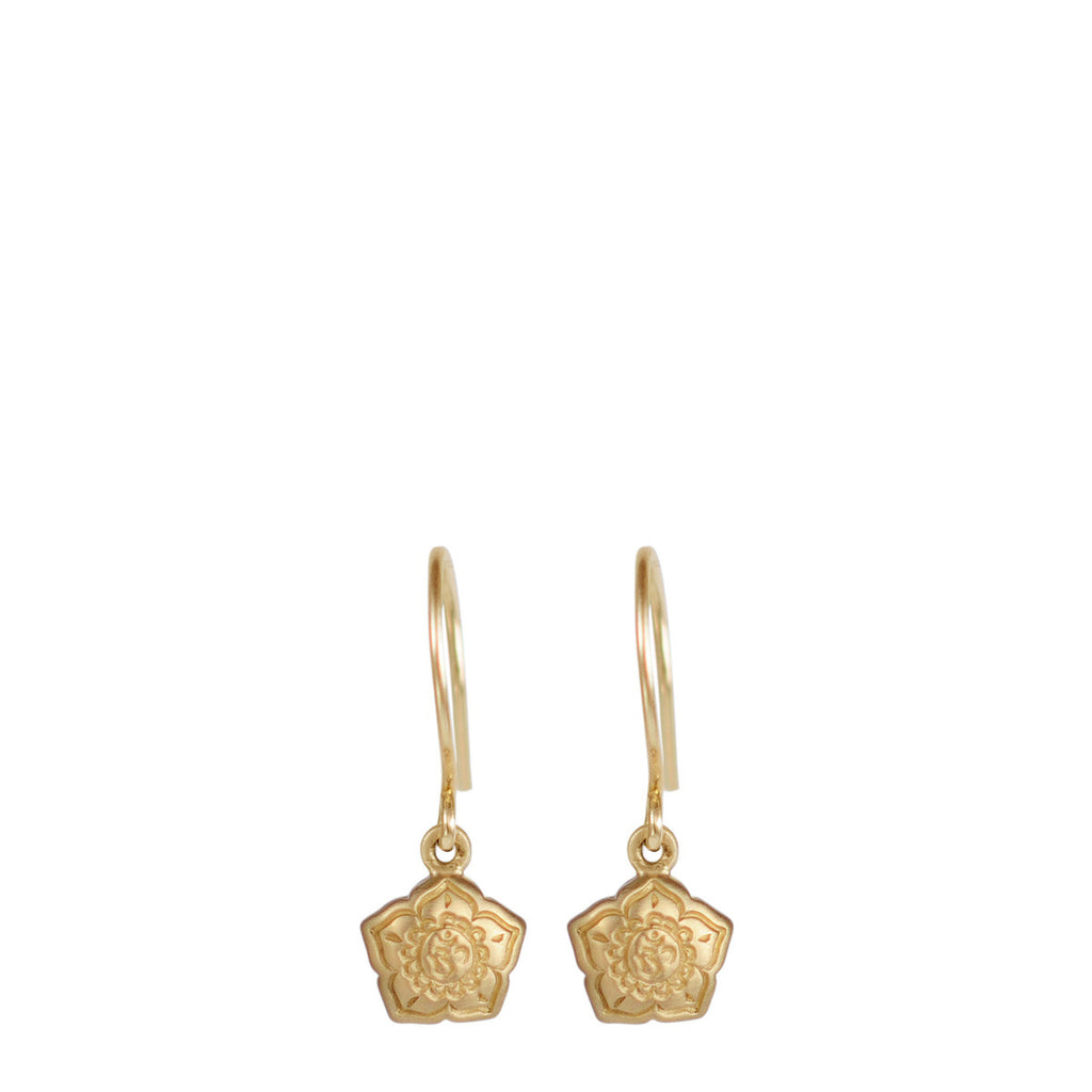 10K Gold Small Om Flower Earrings