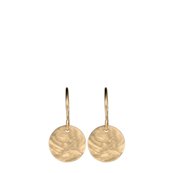 10K Gold Small Shell Disc Earrings