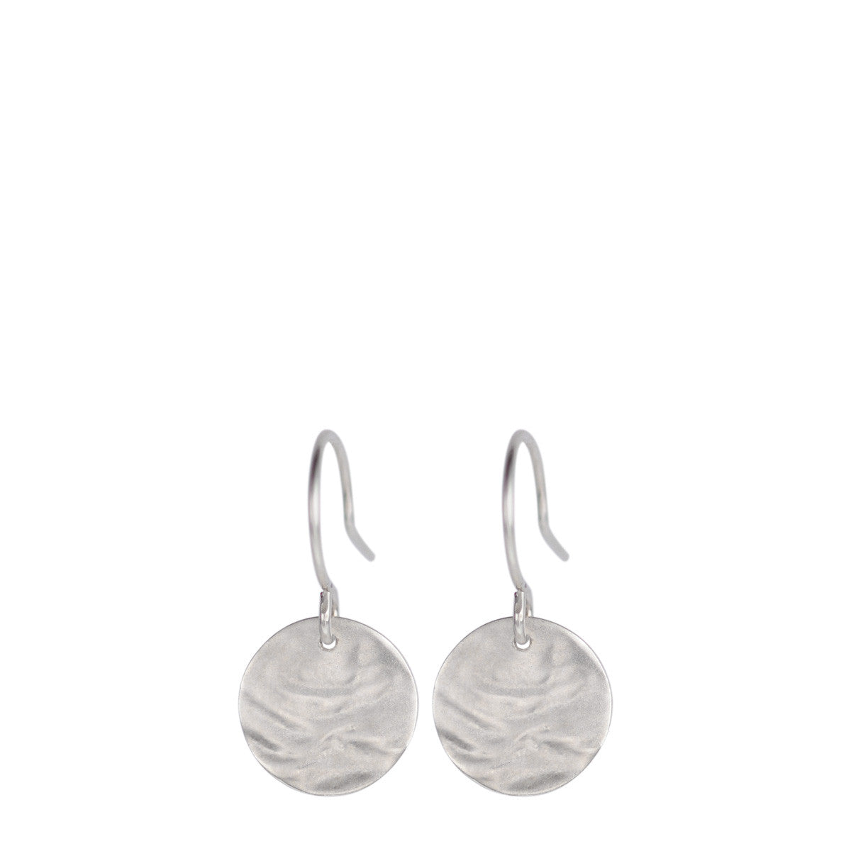 Sterling Silver Small Shell Disc Earrings