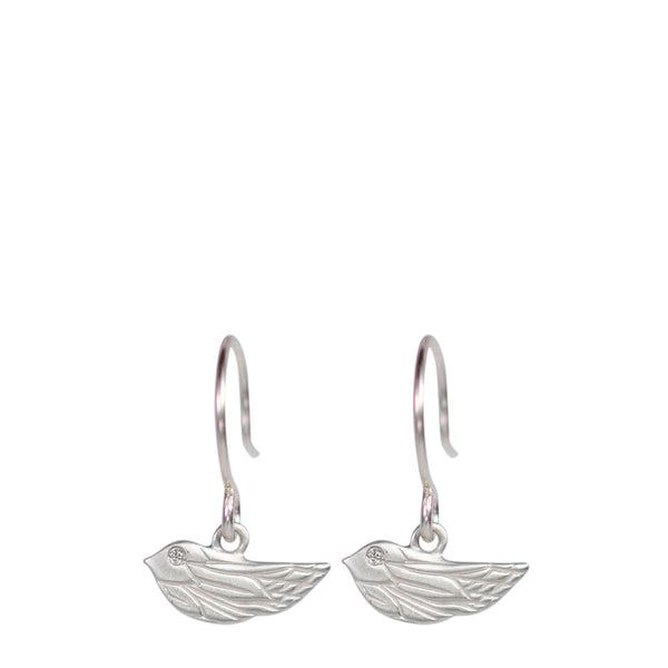 Sterling Silver Engraved Bird Earrings