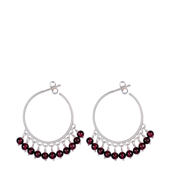 Sterling Silver Medium Beaded Hoops with Garnet