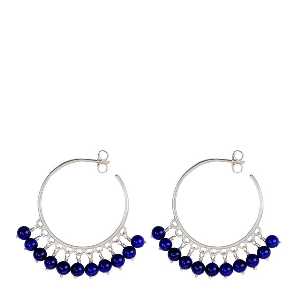 Sterling Silver Medium Beaded Hoops with Lapis