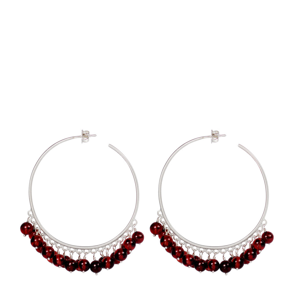 Sterling Silver Large Beaded Hoops with Garnet