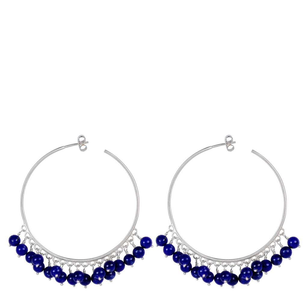 Sterling Silver Large Beaded Hoops with Lapis