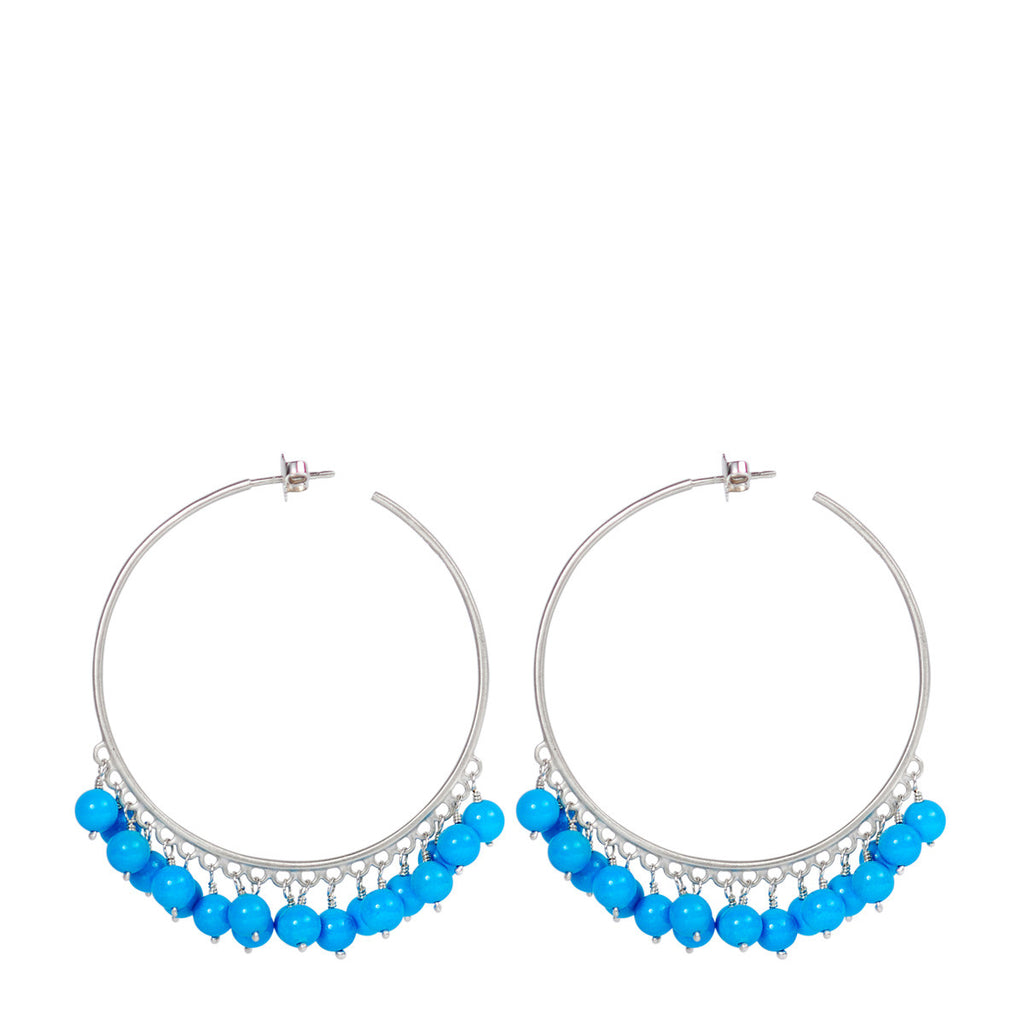 Sterling Silver Large Beaded Hoops with Turquoise