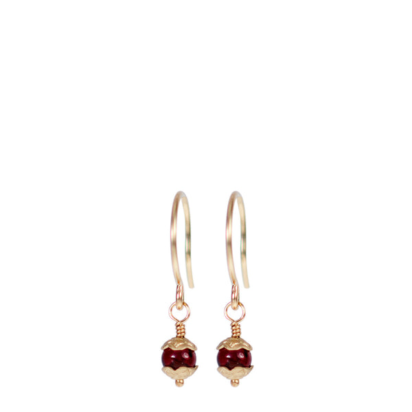 10K Gold Tiny Flower Capped Bead Earrings in Garnet