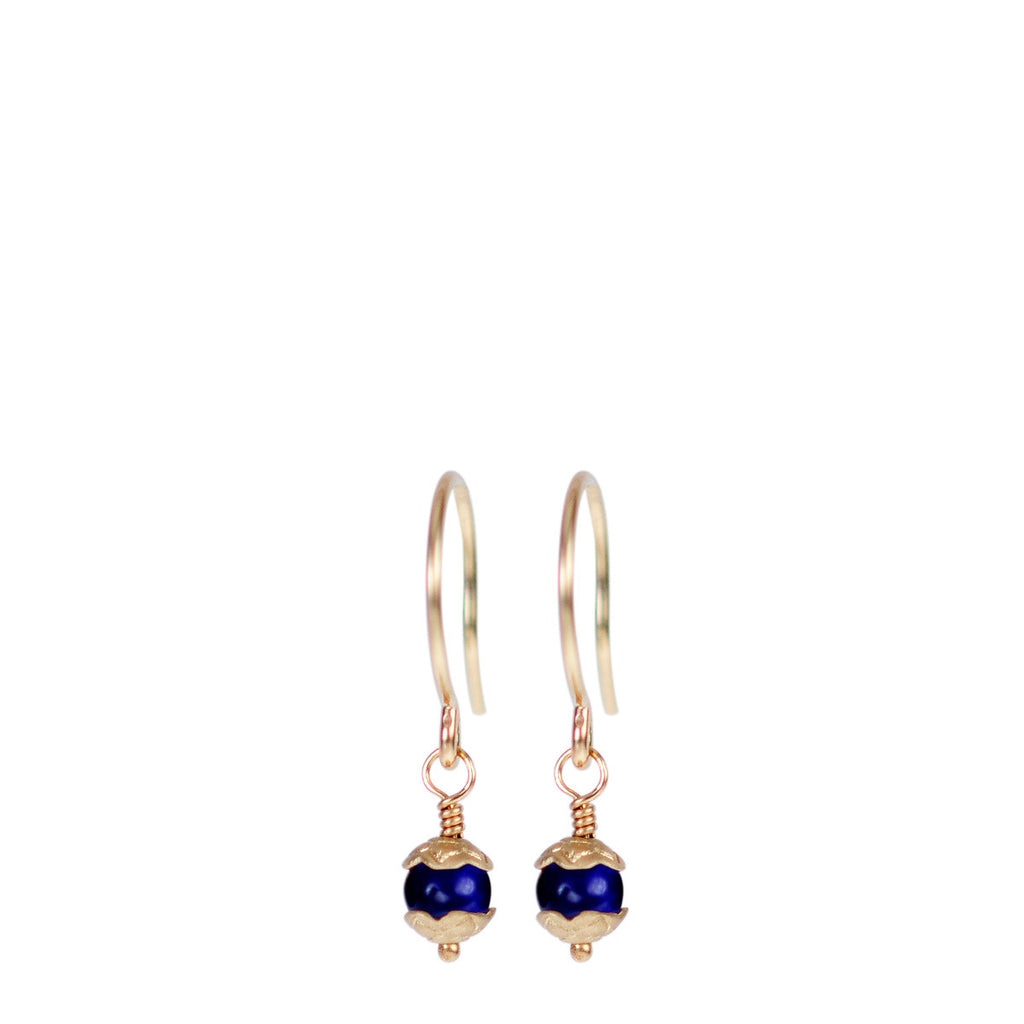10K Gold Tiny Flower Capped Bead Earrings in Lapis