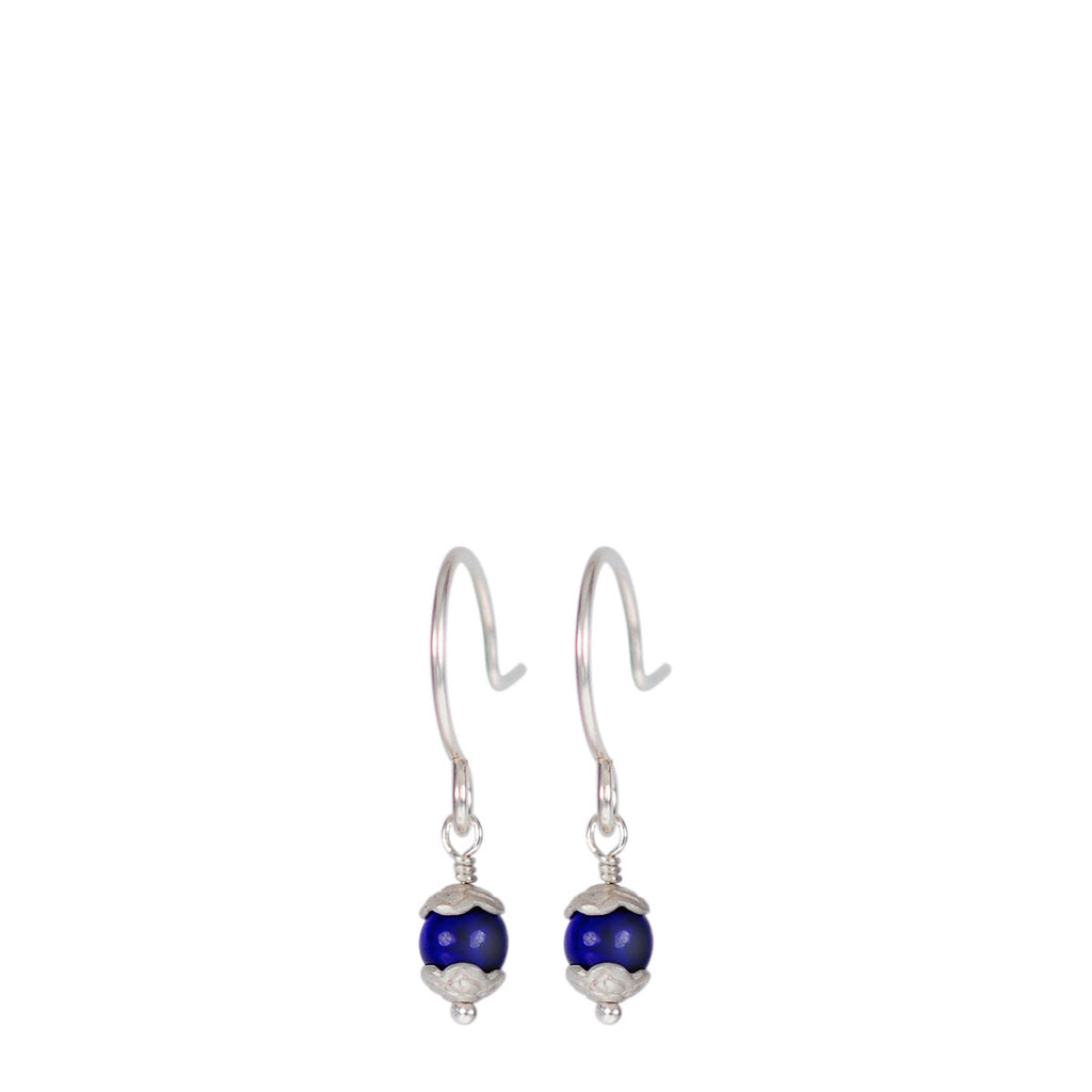 Sterling Silver Tiny Flower Capped Bead Earrings in Lapis