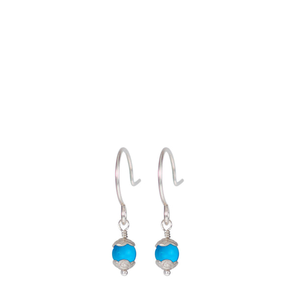 Sterling Silver Tiny Flower Capped Bead Earrings in Turquoise