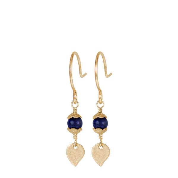 10K Gold Tiny Flower Capped Bead Earrings in Lapis with Petal