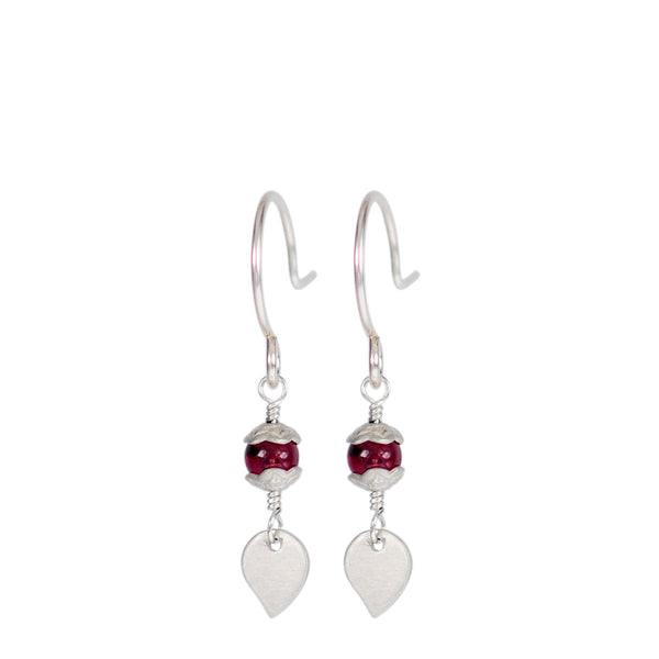 Sterling Silver Tiny Flower Capped Bead Earrings in Garnet with Petal