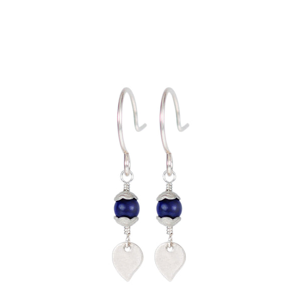 Sterling Silver Tiny Flower Capped Bead Earrings in Lapis with Petal
