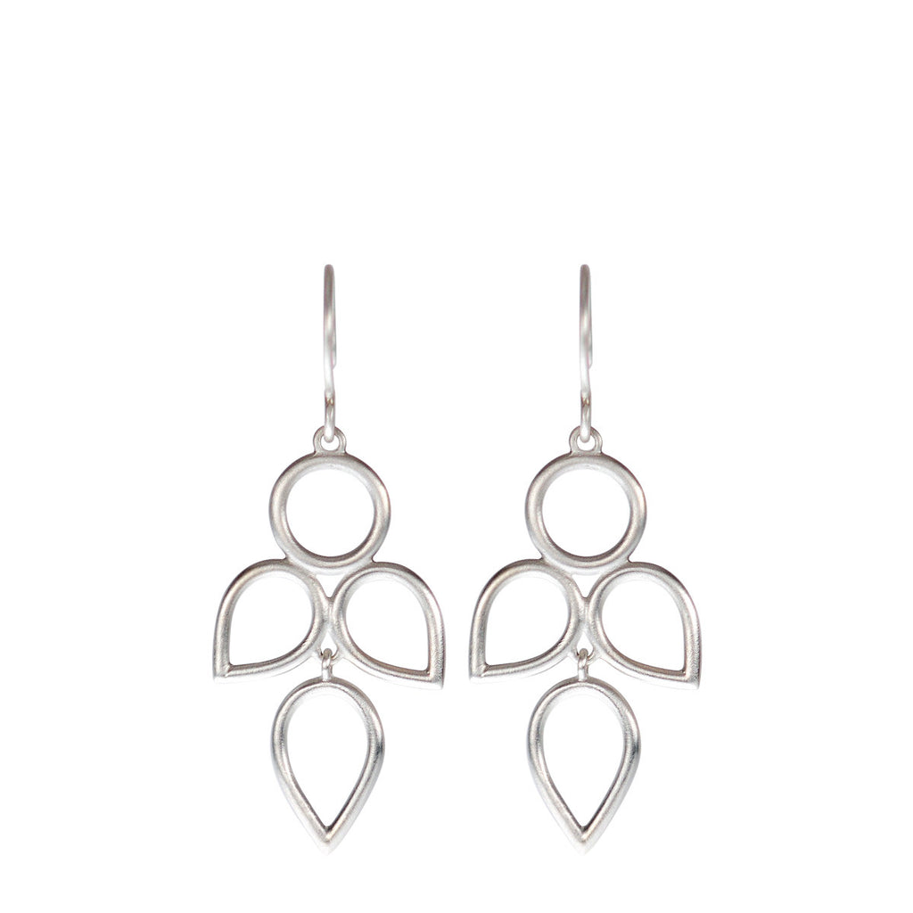 Sterling Silver 3 Tier Circle and Teardrop Earring