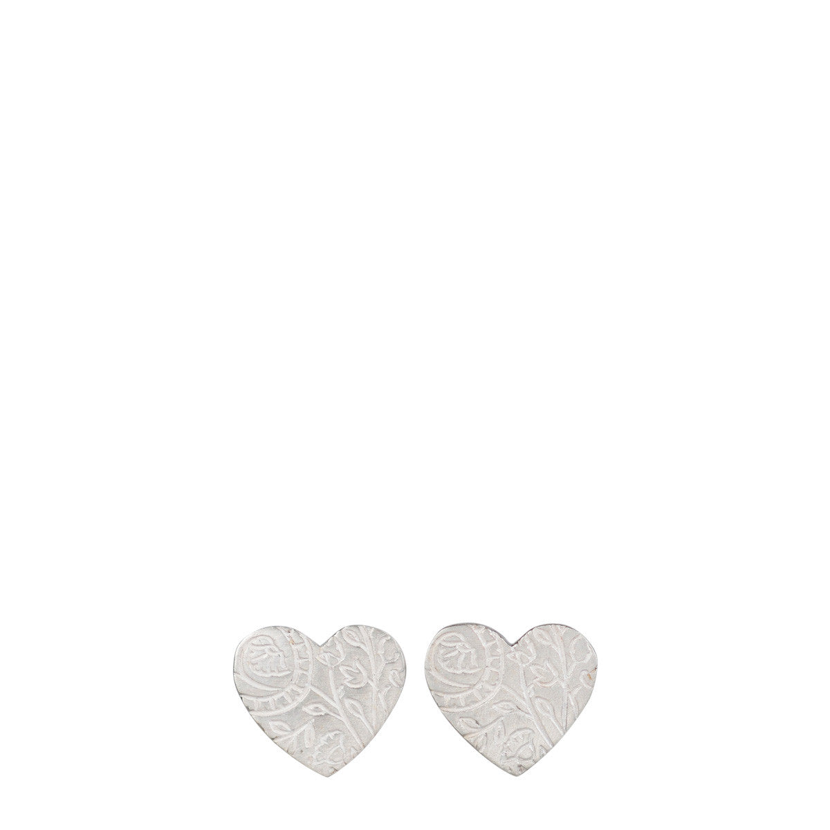 Sterling Silver Small Paisley Heart Stud Earrings