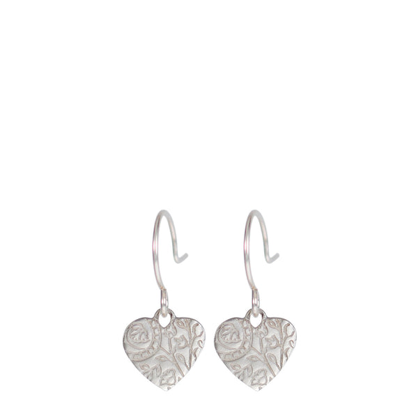 Sterling Silver Small Paisley Hanging Heart Earrings