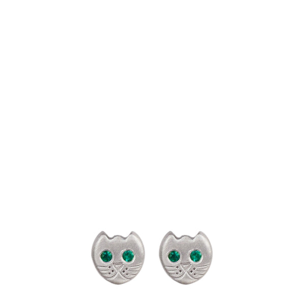 Sterling Silver Tiny Kitten Studs with Emerald Eyes