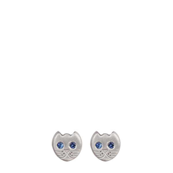 Sterling Silver Tiny Kitten Studs with Sapphire Eyes