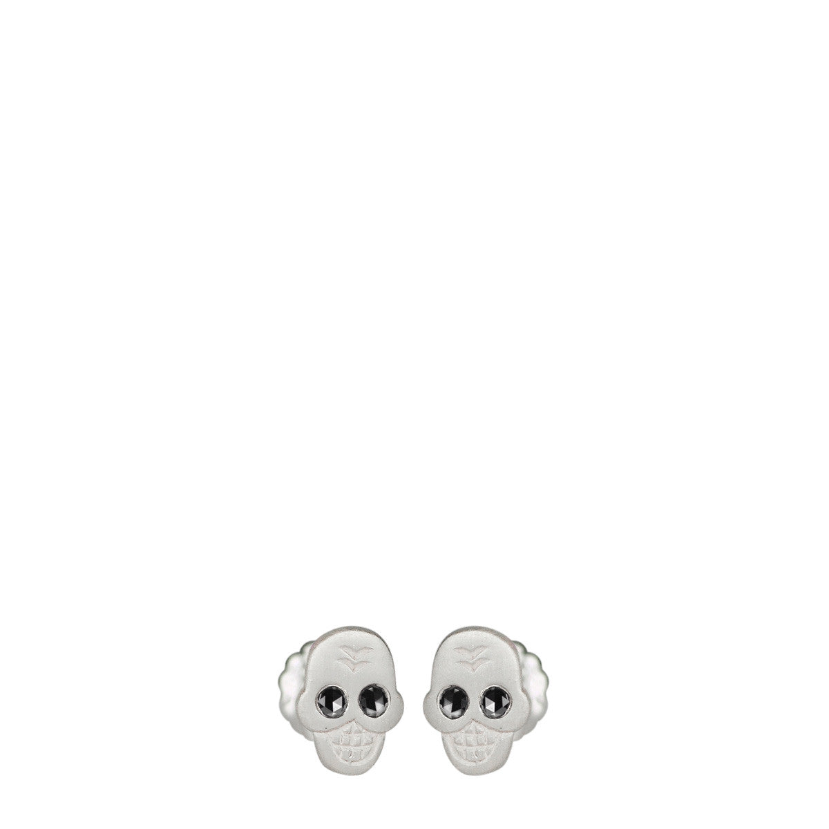Sterling Silver Mini Skull Stud Earrings with Black Diamond Eyes