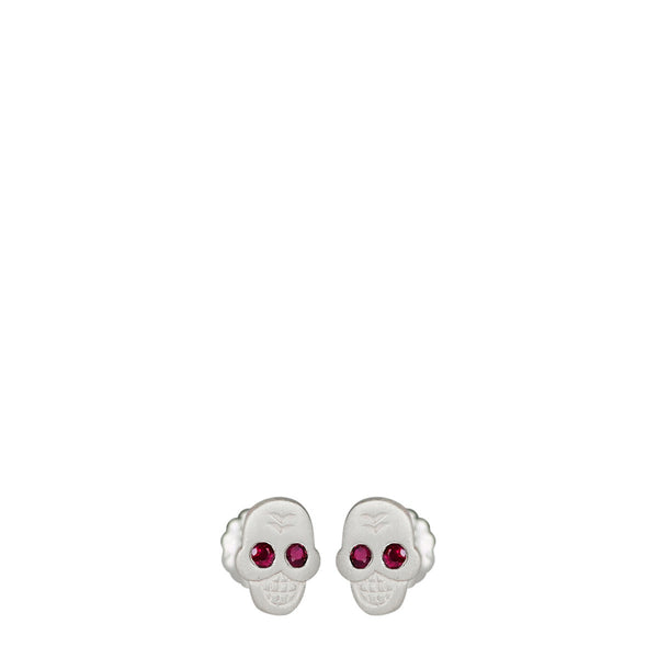 Sterling Silver Mini Skull Stud Earrings with Ruby Eyes