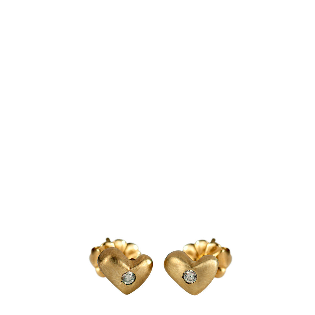 10K Gold Heart Stud Earrings with Diamonds