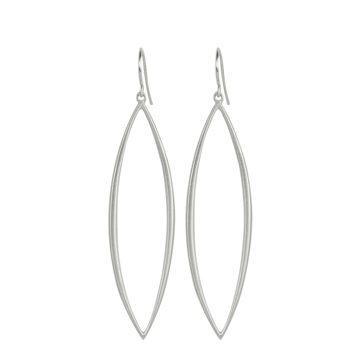 Sterling Silver Long Oval Bar Earrings