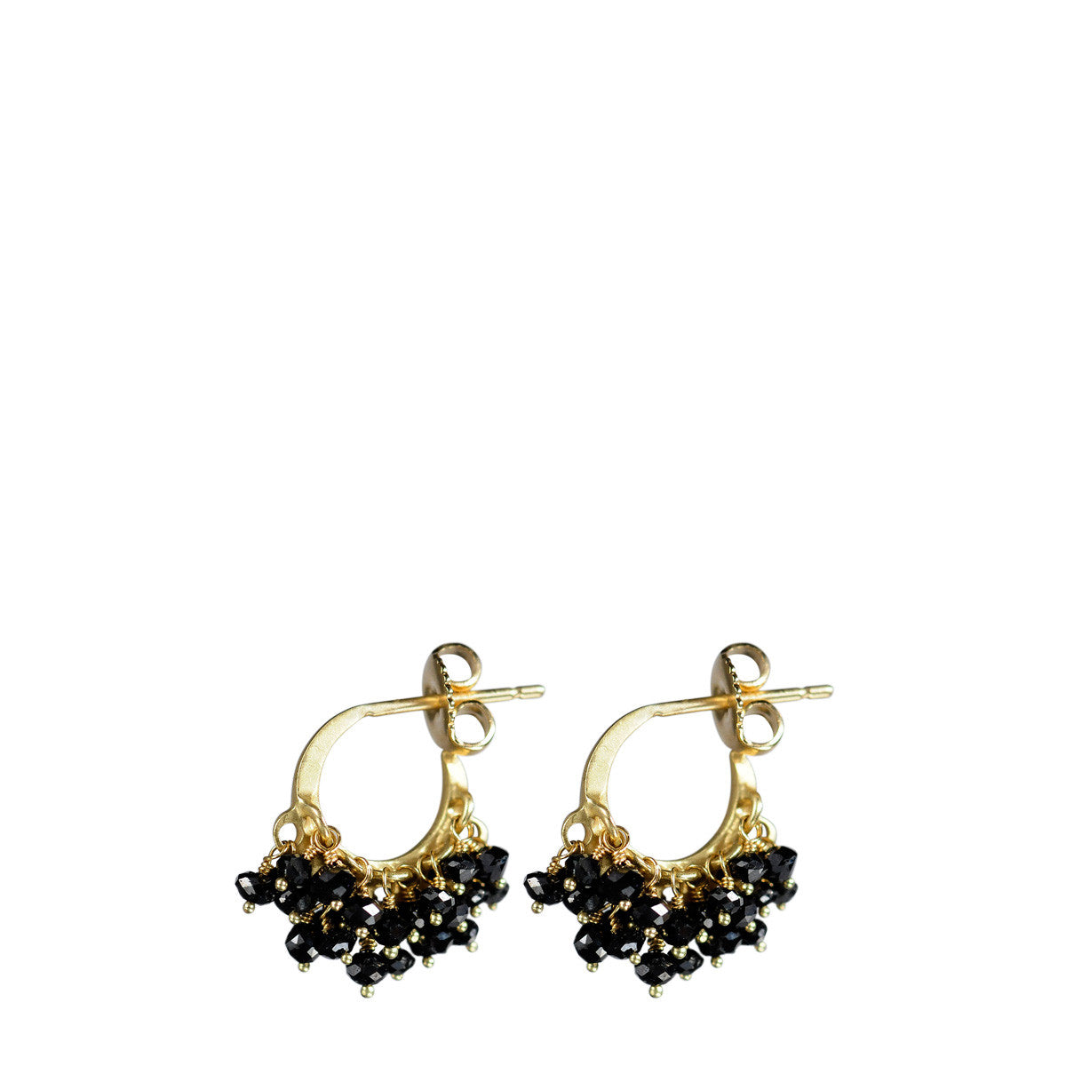 18K Gold All Black Diamond Bead Hoop Earrings