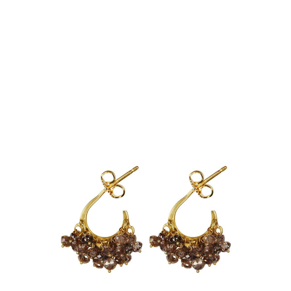 18K Gold All Brown Diamond Bead Hoop Earrings