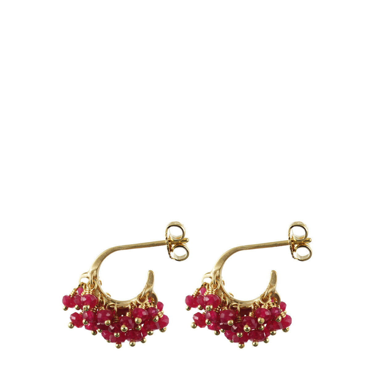 18K Gold All Ruby Bead Hoop Earrings