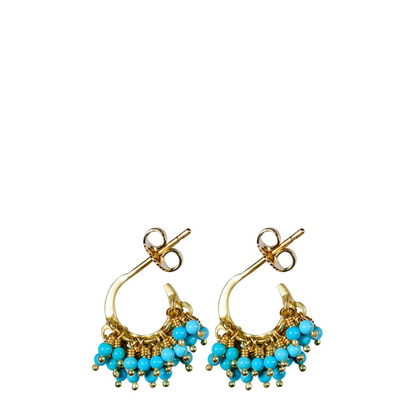 18K Gold All Bead Turquoise Hoop Earrings