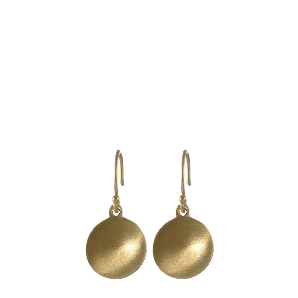 10K Gold Plain Disc Earrings