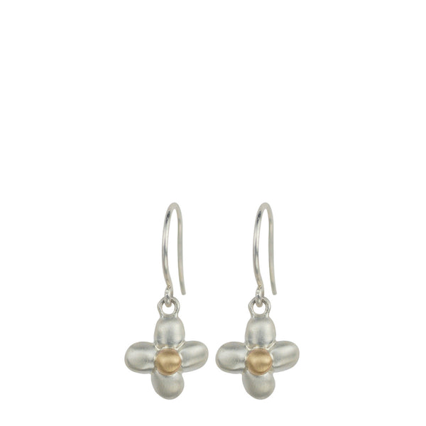 Sterling Silver & 10K Gold Four Petal Flower Earrings