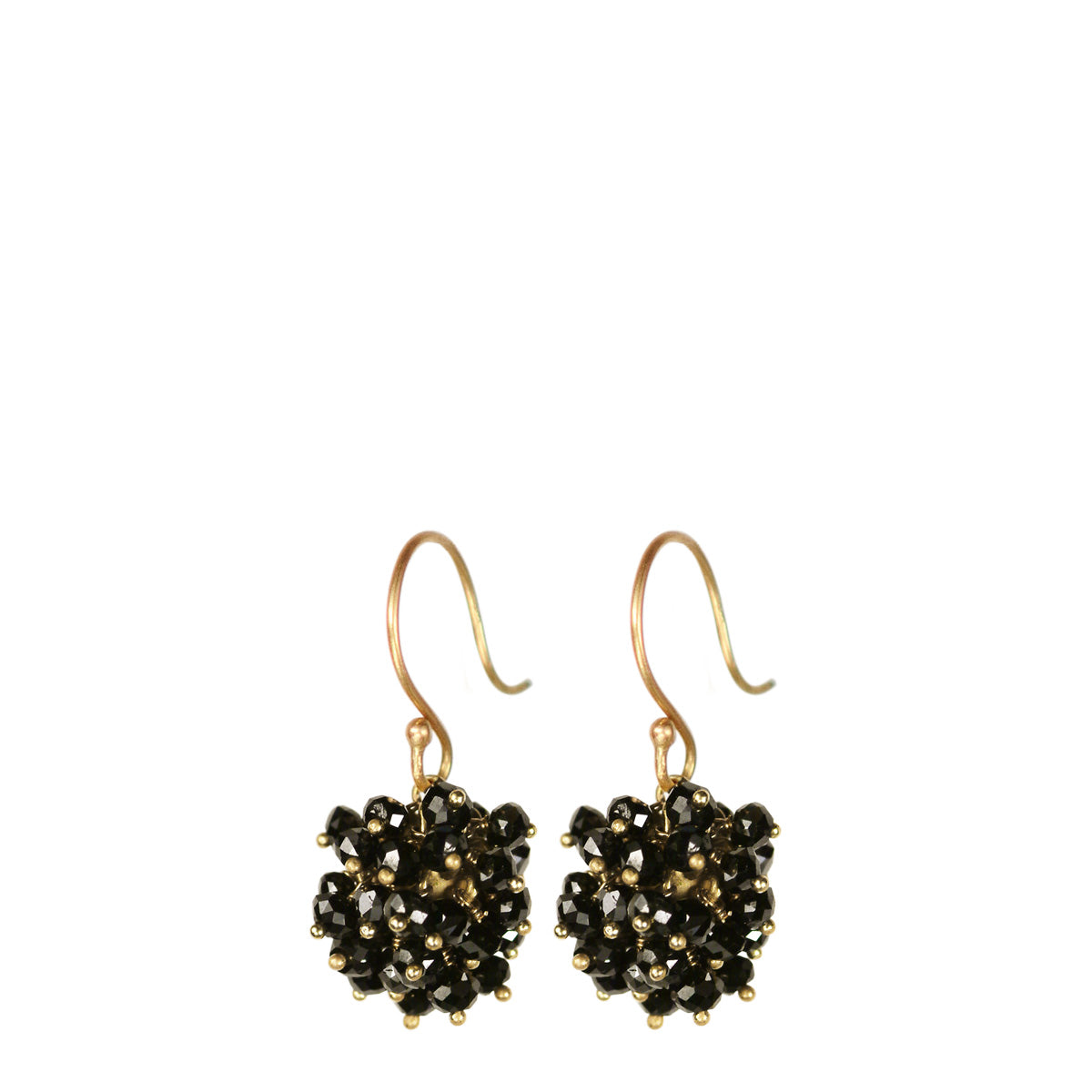 18K Gold All Black Diamond Bead Ball Earrings