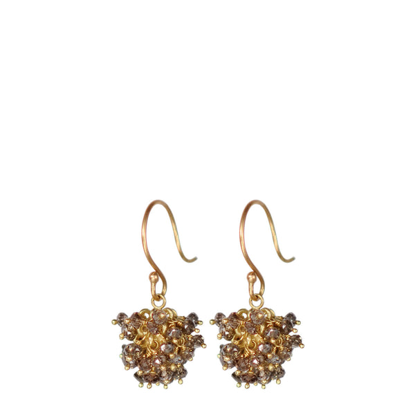 18K Gold All Brown Diamond Bead Ball Earrings